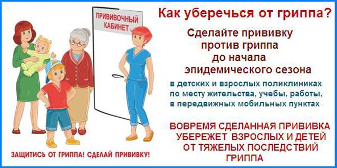 Защитись от гриппа! Сделай прививку!